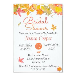 Falling Autumn Leaves Bridal Shower Card