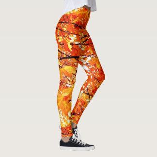 Falling Autumn Leaves, Orange with Black Leggings