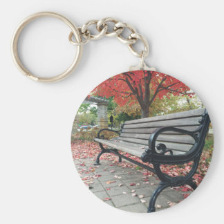 Falling Benches and Sitting Leaves Key Ring