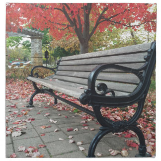 Falling Benches and Sitting Leaves Napkin