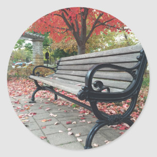 Falling Benches and Sitting Leaves Round Sticker