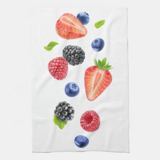 Falling berries tea towel