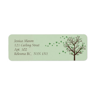 Falling Blossoms - Green Return Address Label