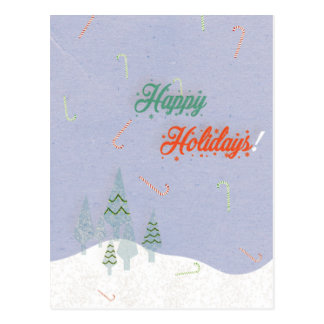 Falling candy canes postcard