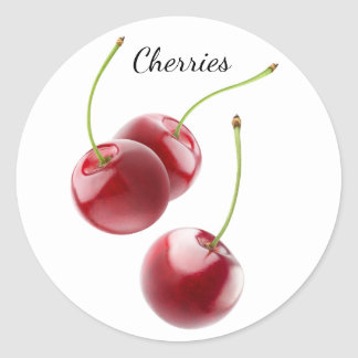 Falling cherries round sticker