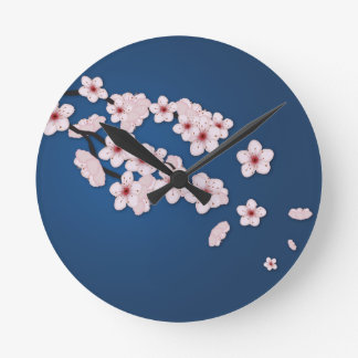 Falling Cherry Blossoms Wallclock