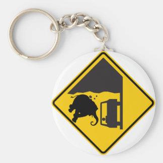 Falling Elephant Zone Highway Sign Keychain