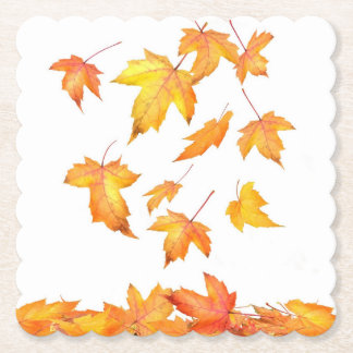 Falling Foliage Scalloped Square Paper Coaster