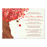 Falling Hearts Oak Tree Fall Bridal Shower 13 Cm X 18 Cm Invitation Card
