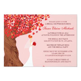 "Falling Hearts Oak Tree Fall Bridal Shower 5"" X 7"" Invitation Card"