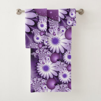 Falling in Love Abstract Flowers & Hearts Fractal Bath Towel Set