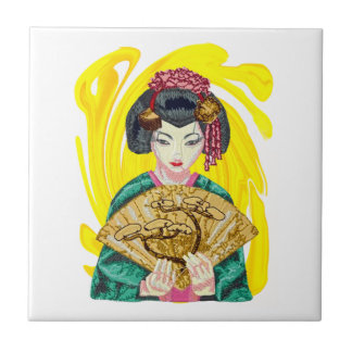 Falling in Love with the Geisha Girl Ceramic Tile
