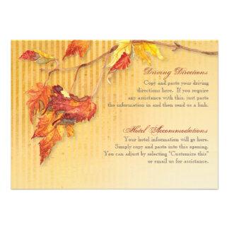 Falling Leaves - Autumn Fall Driving Hotel Info Custom Invitation