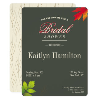 Falling Leaves Autumn Oak Wedding Shower Card