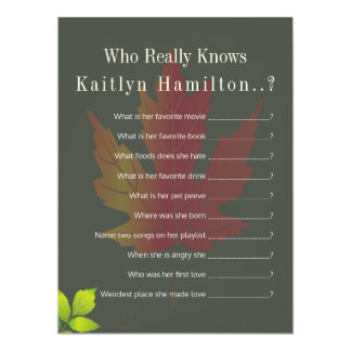 Falling Leaves Autumn Oak Wedding Shower Quiz Game Card