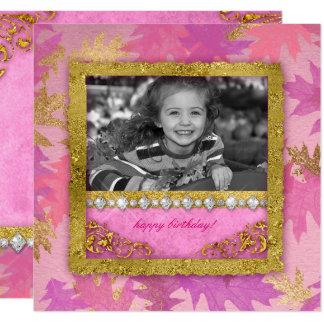 Falling Leaves Birthday Photo Card Invitation