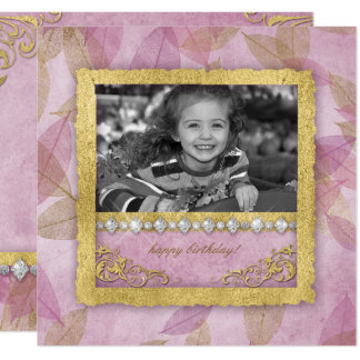 Falling Leaves Birthday Photo Card Invitation 2