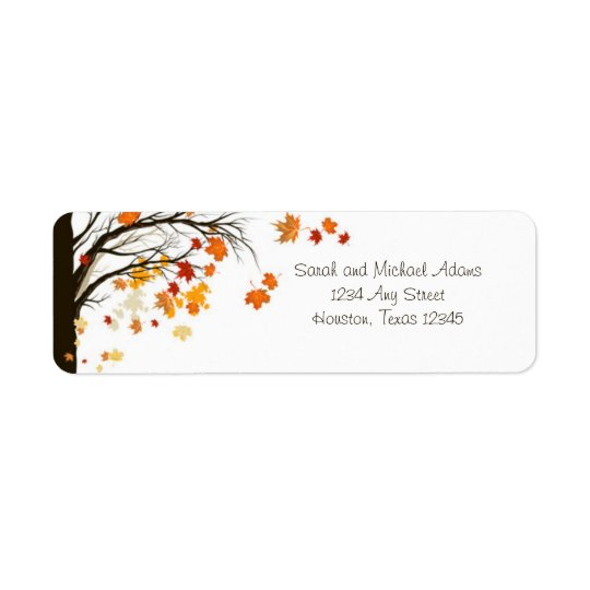 Falling Leaves Fall Autumn Return Address Label