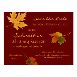 Falling Leaves Family Reunion, Party Save the Date Postcard