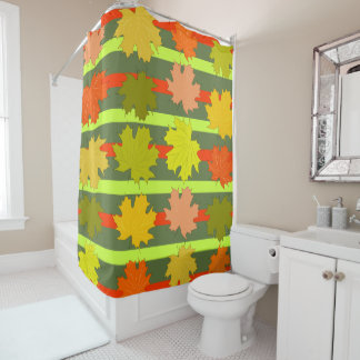 Falling leaves in autumn shower curtain