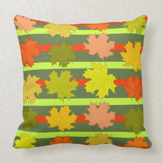 Falling leaves in autumn throw pillow