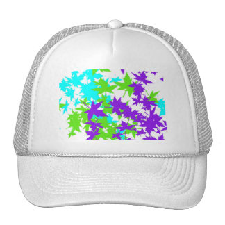 Falling Leaves in Turquoise, Purple and Lime Cap
