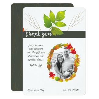 Falling Leaves Maple Oak Charcoal Oval Thank You Card