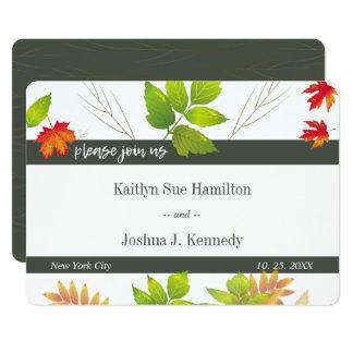 Falling Leaves Maple Oak Charcoal Wedding Card