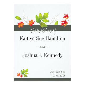 Falling Leaves Maple Oak Wedding Card