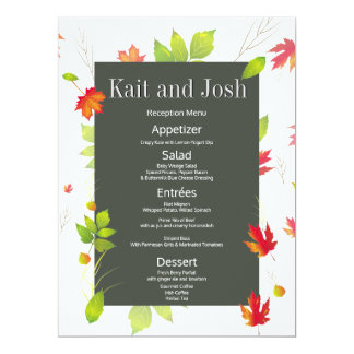 Falling Leaves Maple Oak Wedding Reception Menu Card