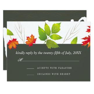 Falling Leaves Maple Oak Wedding RSVP Card