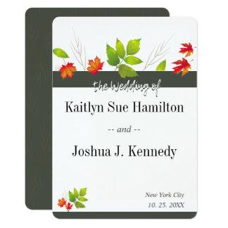 Falling Maple Autumn Oak Charcoal Wedding Card