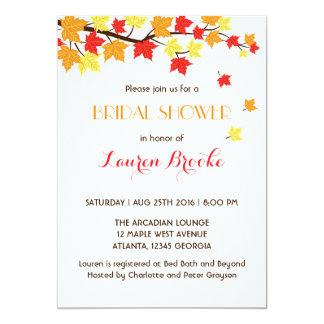 Falling Maple Leaves Autumn Invitation White