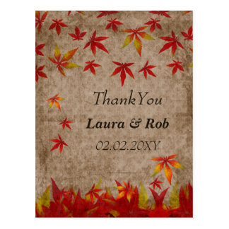 falling maple leaves ThankYou Cards
