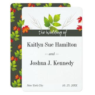 Falling Maple Oak Charcoal Autumn Wedding Card