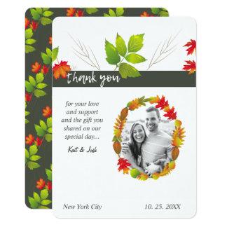 Falling Maple Oak Charcoal Bouquet Oval Thank You Card