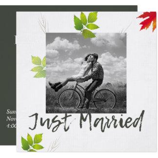 Falling Oak Leaves Maple Wedding Announcement