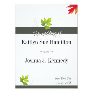 Falling Oak Leaves Maple  Wedding Card