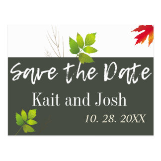 Falling Oak Leaves Maple Wedding Save the Date Postcard