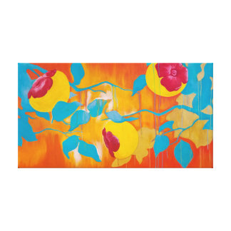 Falling Persimmons in Yellow Canvas Print