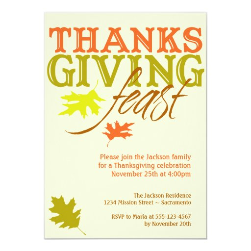 Falling red brown autumn leaves Thanksgiving feast 13 Cm X 18 Cm Invitation Card
