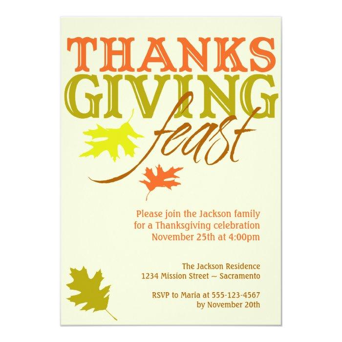 Falling red brown autumn leaves Thanksgiving feast 13 Cm X 18 Cm Invitation Card