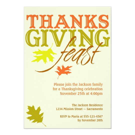 Falling red brown autumn leaves Thanksgiving feast Card