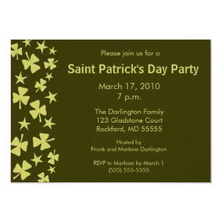 Falling Shamrocks & Stars Party Card