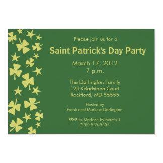 Falling Shamrocks & Stars Party -Green 2 5x7 Paper Invitation Card