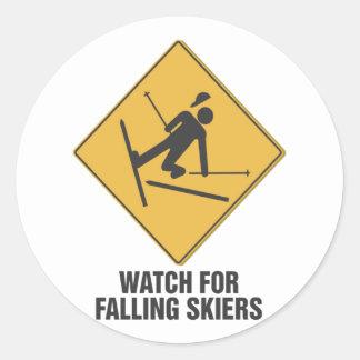 Falling Skiers Classic Round Sticker