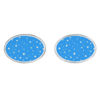 FALLING SNOW (a snowflake design) ~ Silver Finish Cufflinks