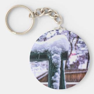 Falling Snow Basic Round Button Key Ring