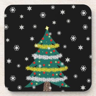 Falling Snow Christmas Tree Coaster