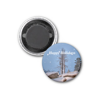 Falling snow magnet. 3 cm round magnet